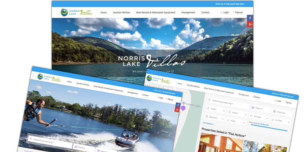 Norris Lake Villas Website Bertke Creative - Dayton area Freelance Graphic Designer