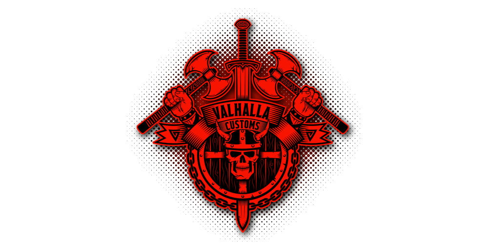 Logo Design for Valhalla Custom Gear | Logo Designer